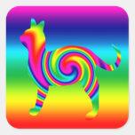 Torsión formada gato del arco iris calcomanías cuadradas personalizadas