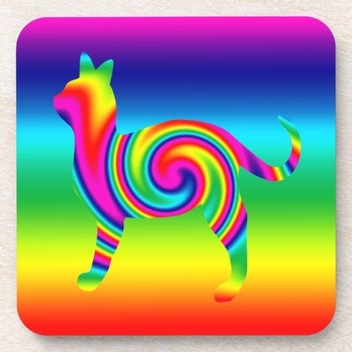 Torsión formada gato del arco iris posavasos de bebidas