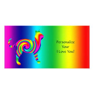 Torsión formada gato del arco iris tarjetas personales con fotos