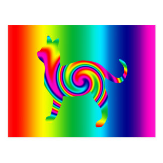 Torsión formada gato del arco iris postales