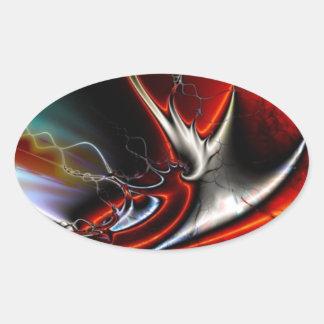 Torsiones del extracto de colores pegatina ovalada