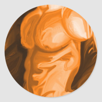 Torso Physique Sculpted Labels Classic Round Sticker