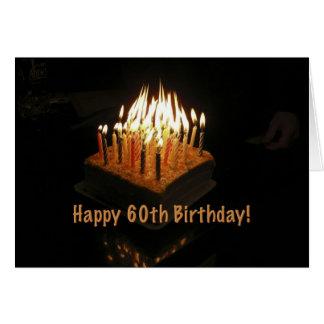 torta 60 tarjeta encendida del fuego del