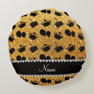 Torta amarilla conocida de los globos de las cojín redondo
