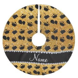 Torta amarilla conocida de los globos de las falda para arbol de navidad de poliéster