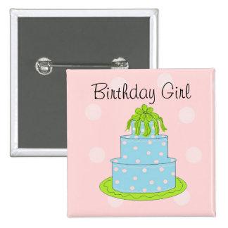 Torta azul - chica del cumpleaños pin cuadrado