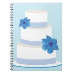 Torta azul de la grada del boda libro de apuntes con espiral