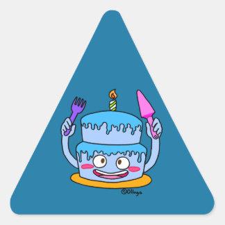torta azul del cumpleaños pegatina triangular
