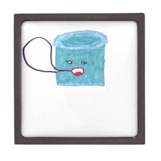 Torta azul que habla caja de recuerdo de calidad