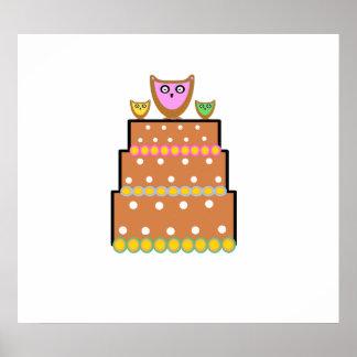 Torta blanca del búho del polkadot poster