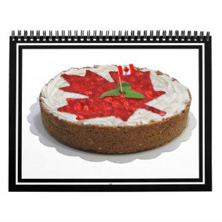 Torta canadiense de la hoja de arce de la cereza calendario