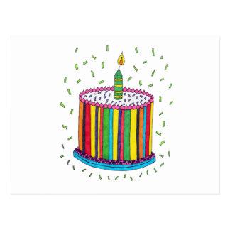Torta colorida linda de la fiesta de cumpleaños tarjeta postal