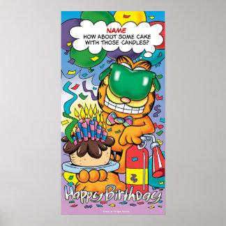 """""""Torta con cumpleaños de Garfield de esas velas"""" Póster"""