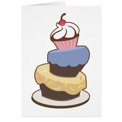 torta con gradas 3 tarjeta de felicitación