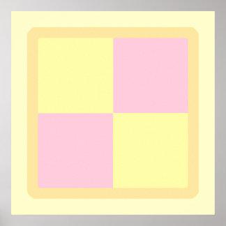 Torta de Battenburg. Rosa y amarillo Poster