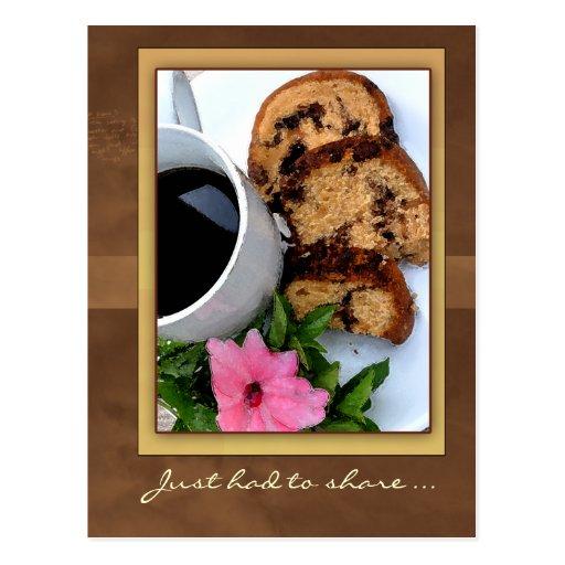 torta de café del canela tarjetas postales