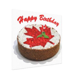 Torta de Canadá del feliz cumpleaños Impresión En Lona Estirada