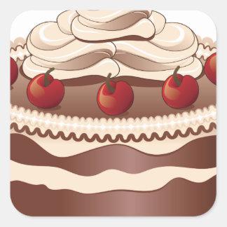 Torta de chocolate adornada 2 pegatina cuadrada