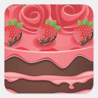 Torta de chocolate adornada pegatina cuadrada