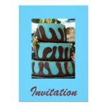 Torta de chocolate azul invitación 12,7 x 17,8 cm