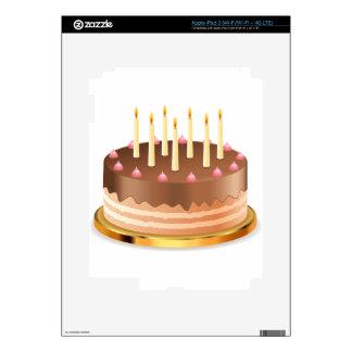 Torta de chocolate con las velas 2 iPad 3 pegatinas skins