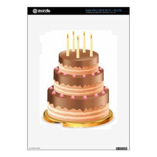 Torta de chocolate con las velas iPad 3 pegatina skin