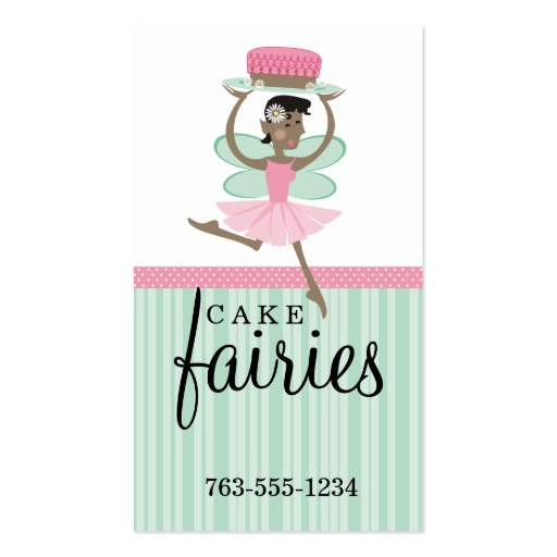 Torta de chocolate de hadas de la panadería tarjeta de visita