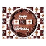 "Torta de chocolate del ""feliz cumpleaños"" postal"