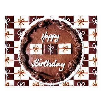 Torta de chocolate del feliz cumpleaños postal