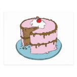 torta de chocolate que hiela rosada postal