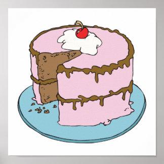 torta de chocolate que hiela rosada póster