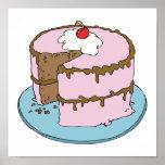 torta de chocolate que hiela rosada posters