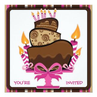 """Torta de chocolate y velas de cumpleaños de invitación 5.25"""" x 5.25"""""""
