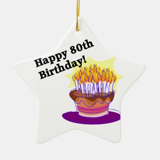 Torta de cumpleaños 80.a adorno navideño de cerámica en forma de estrella
