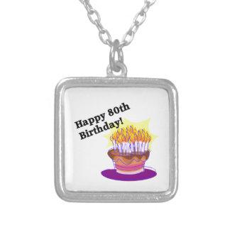 Torta de cumpleaños 80.a colgante cuadrado