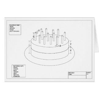 Torta de cumpleaños arquitectónica tarjeta