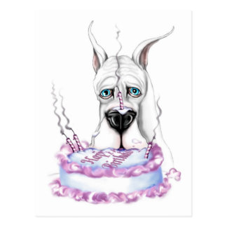 Torta de cumpleaños blanca de great dane postales