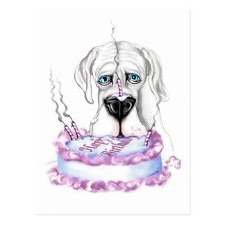 Torta de cumpleaños blanca de great dane UC Tarjeta Postal