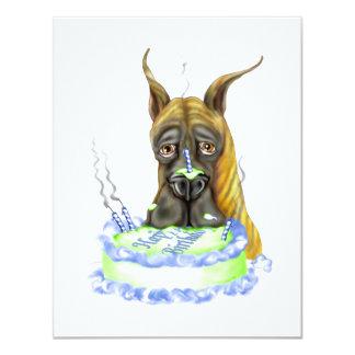 """Torta de cumpleaños Brindle de great dane Invitación 4.25"""" X 5.5"""""""