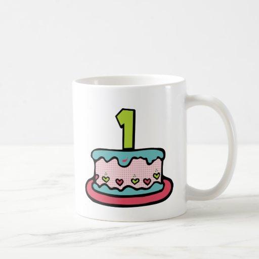 Torta de cumpleaños con edad taza de café