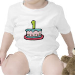 Torta de cumpleaños con edad trajes de bebé