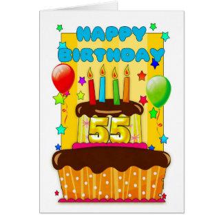 torta de cumpleaños con las velas - 55.o tarjeta de felicitación