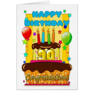 torta de cumpleaños con las velas - 90.o tarjeta de felicitación