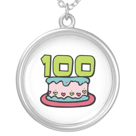 Torta de cumpleaños de 100 años collar plateado