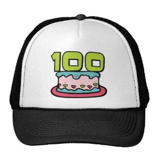 Torta de cumpleaños de 100 años gorras