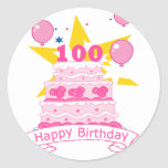 Torta de cumpleaños de 100 años pegatina redonda