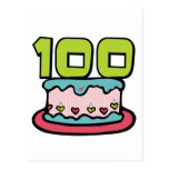 Torta de cumpleaños de 100 años tarjetas postales
