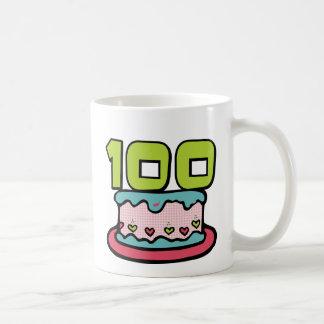 Torta de cumpleaños de 100 años taza básica blanca