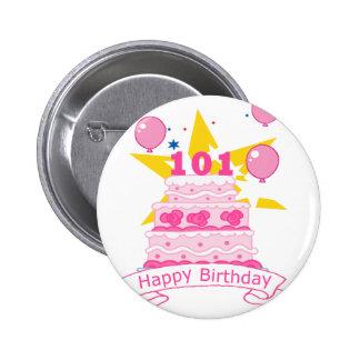 Torta de cumpleaños de 101 años pin redondo 5 cm
