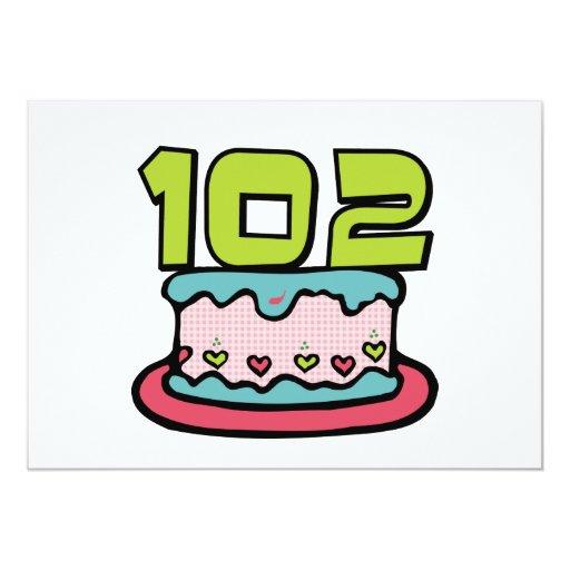 """Torta de cumpleaños de 102 años invitación 5"""" x 7"""""""